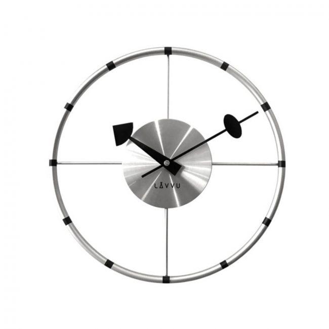 Nástenné hodiny Lavvu Compass strieborná, pr. 31 cm