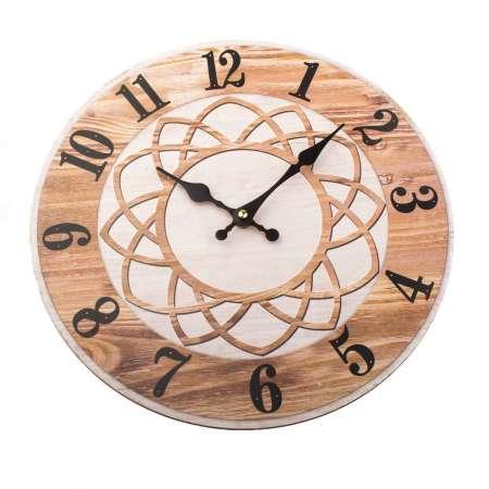 Nástenné hodiny Mandala 34 cm, prírodná