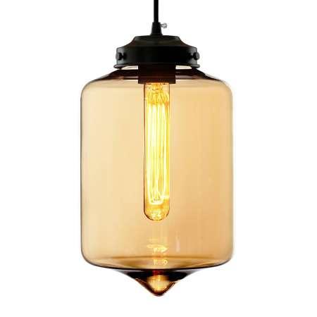 ALTAVOLA DESIGN Závesná lampa LA011 E27-Tube tienidlo sklo jantár