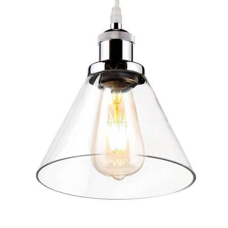 ALTAVOLA DESIGN Závesná lampa LA034 E27 lievik chróm/číra