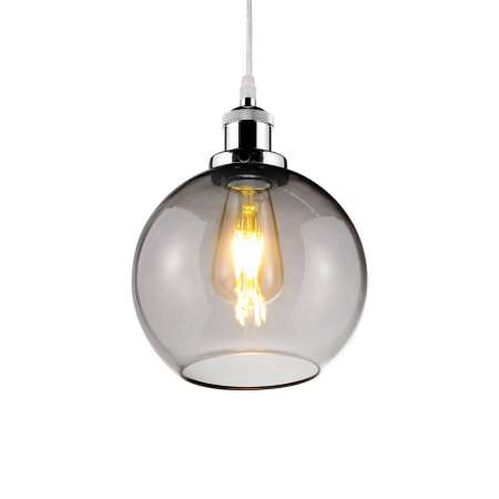 ALTAVOLA DESIGN Závesná lampa LA035 E27 okrúhla chróm/dymová sivá