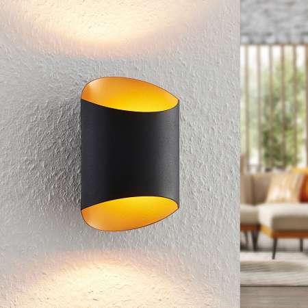 Arcchio Arcchio Ayaz nástenná LED, čierno-zlatá