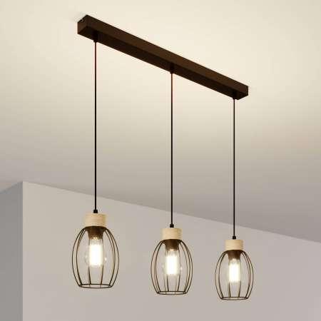 BRITOP Závesná lampa Beeke, 3-pl s klietkovými tienidlami