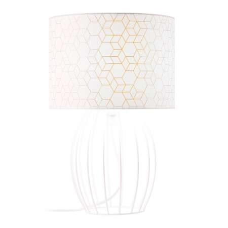 Brilliant Stolná lampa Galance biela s klietkovým podstavcom