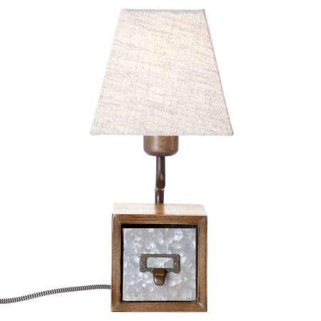 Brilliant Textilná stolná lampa Casket so zásuvkou