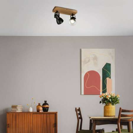 Briloner Stropné svetlo Arbo drevený prvok, 2-plameňové