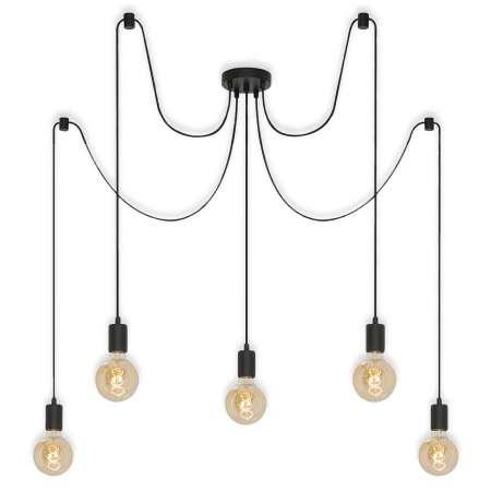 Briloner Závesná lampa 4104-055 Black Steel, 5-plameňová