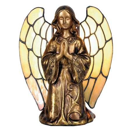 Clayre & Eef Stolná lampa Anjel v štýle Tiffany