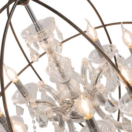 Clayre & Eef Visiaci luster CR120, osem-plameň, sklenený záves