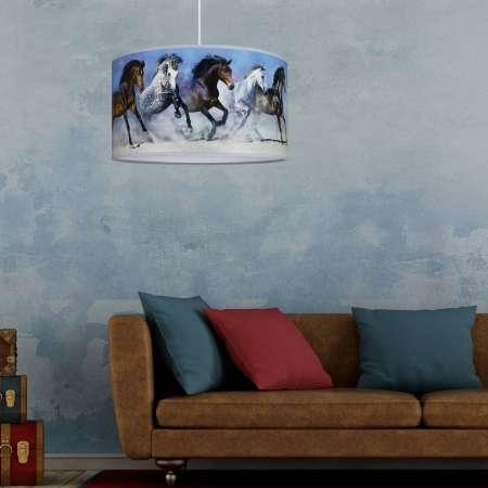 DUOLLA Potlačená závesná lampa Horses