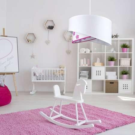 DUOLLA Závesná lampa Cello s hviezdami, biela/ružová