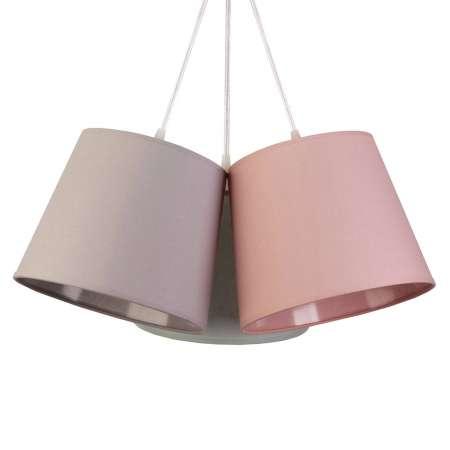 DUOLLA Závesná lampa Rossa, 3-plameňová, sivá/ružová