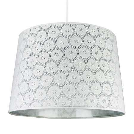 DUOLLA Závesná lampa Rustica s bielym čipkovaným vzorom