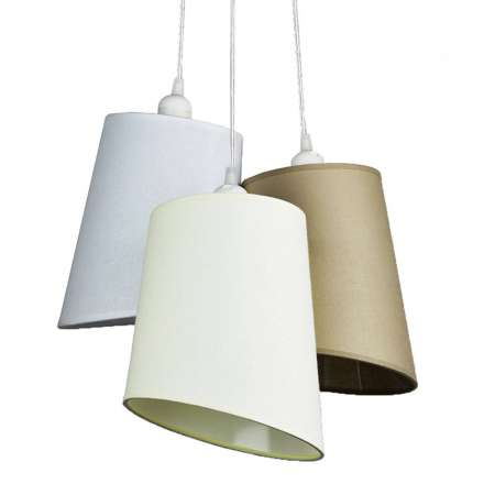 DUOLLA Závesná lampa Verona 3-pl., biela/ekru/béžová