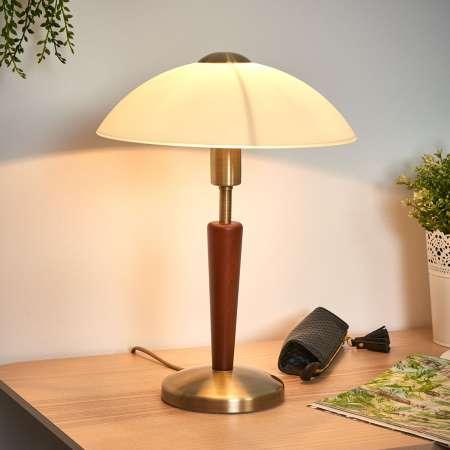 EGLO Stolná lampa Salut, čiernená, orech