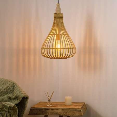 EGLO Závesná lampa Amsfield z bambusu tvar hrušky