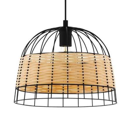 EGLO Závesná lampa Anwick z ocele/ratanu, Ø 37cm