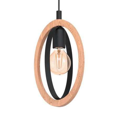 EGLO Závesná lampa Basildon z dreva/ocele, 1-plameňová