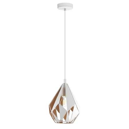 EGLO Závesná lampa Carlton 1, bielo-zlatá, Ø 20,5cm