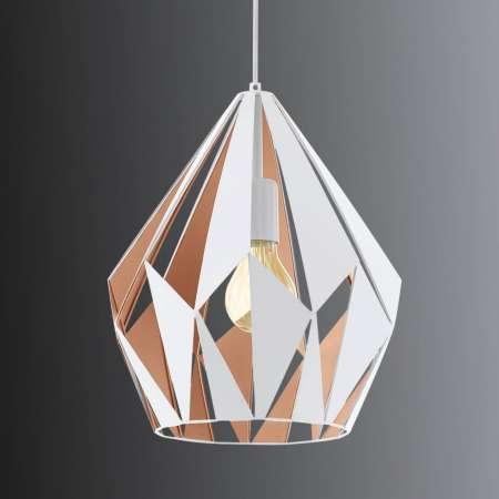 EGLO Závesná lampa Carlton, bielo-zlatá Ø 31cm