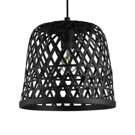 EGLO Závesná lampa Kirkcolm, tienidlo drevo 30cm/čierna