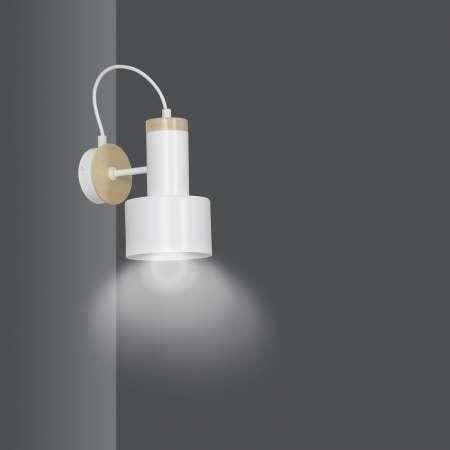 EMIBIG LIGHTING Nástenné svietidlo Foxtrot K1 drevené prvky biele