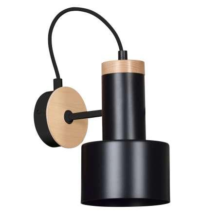 EMIBIG LIGHTING Nástenné svietidlo Foxtrot K1 drevené prvky čierne