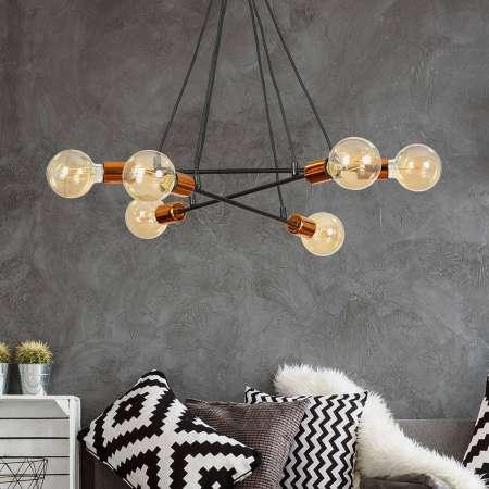 EMIBIG LIGHTING Závesná lampa Bravo 6-pl. medené prvky, čierna
