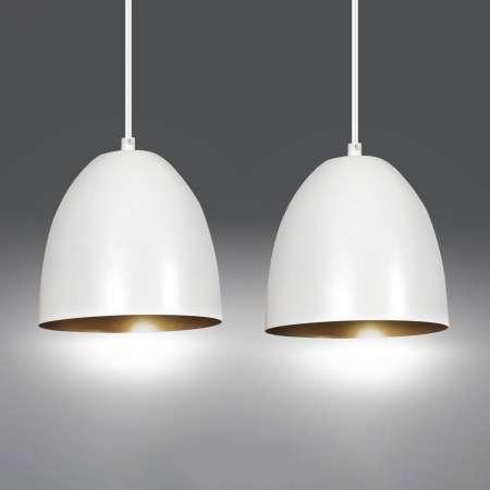 EMIBIG LIGHTING Závesná lampa Lenox, dvoj-plameňová, biela/zlatá