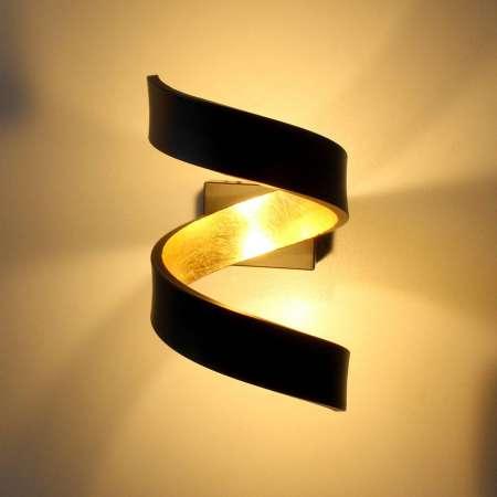 Eco-Light Nástenné LED svietidlo Helix, čierno-zlaté, 17 cm