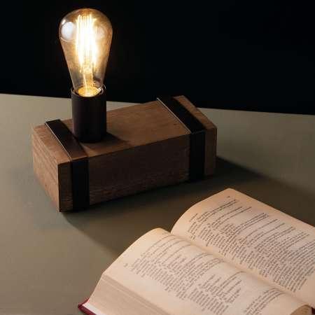 Eco-Light Stolná lampa Texas starožitné drevo, 1-plameňové