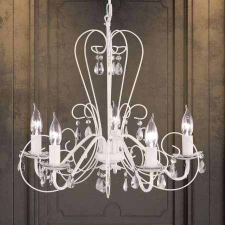 FISCHER & HONSEL Visiaci luster PRISMA 5-plameňový, biely