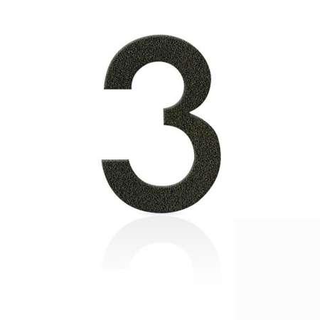 Heibi Čísla z ušľachtilej ocele číslica 3 kávová hnedá