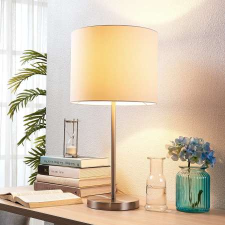 Lindby Biela látková stolná lampa Parsa káblový vypínač