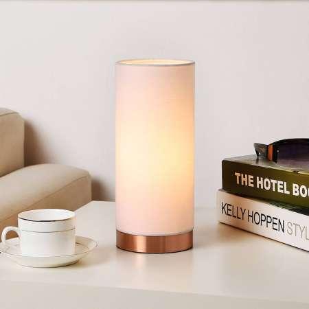 Lindby Biela stolná lampa Ronja podstavec medenej farby