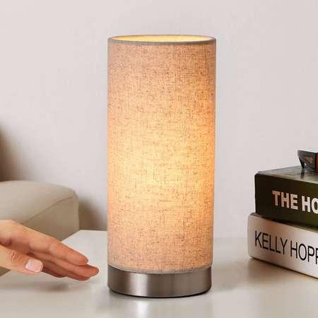 Lindby Crémová látková stolná lampa Ronja