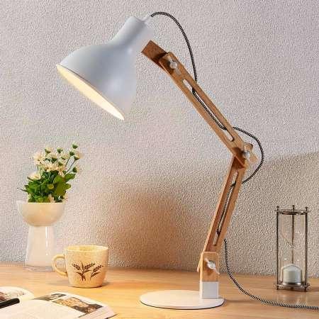 Lindby Drevená lampa na písací stôl Shivanja biele