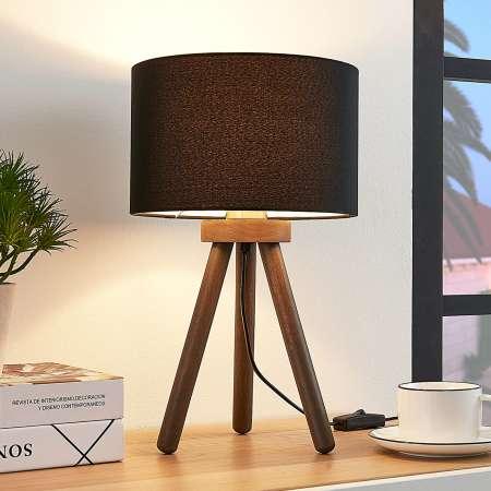 Lindby Látková stolová lampa Majken - tmavosivá/čierna