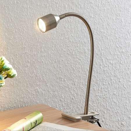 Lindby Lindby Djamila upínacia LED lampa nikel satinovaná