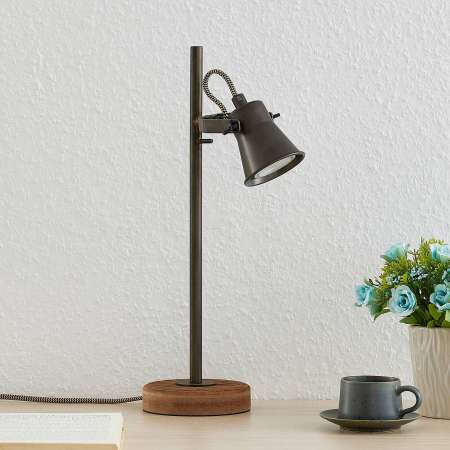 Lindby Lindby Grandesa stolná lampa stojan drevo