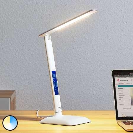 Lindby Lindby Ludmilla stolová LED lampa, displej, biela