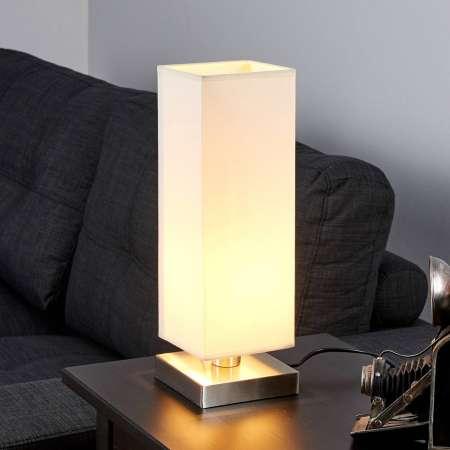 Lindby Martje – biela stolná lampa s E14 LED žiarovkou