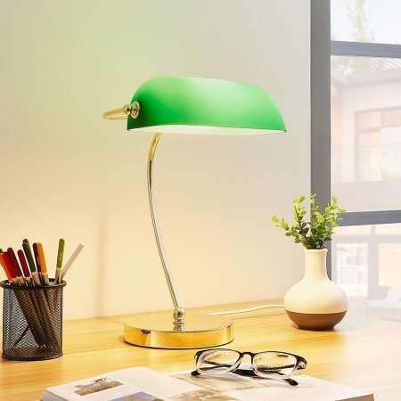 Lindby Mosadzná stolná lampa Selea tienidlo zelené