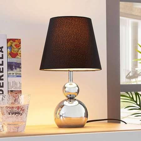 Lindby Pochrómovaná textilná stolná lampa Andor čierna