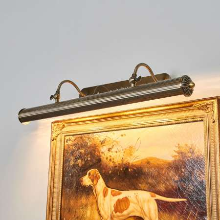 Lindby Podlhovastá obrazová lampa Joely starožitná mosadz