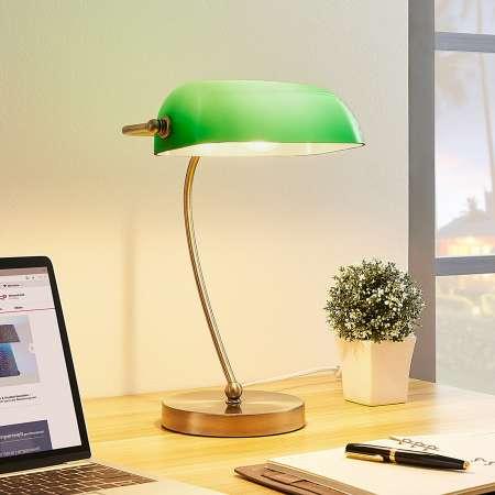 Lindby Selea – bankárska lampa so zeleným tienidlom