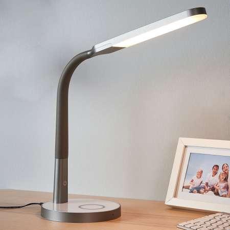 Lindby Sivá LED lampa na písací stôl Maily USB a stmievač