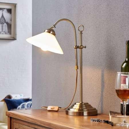 Lindby Stolná lampa Otis v starožitnej mosadzi