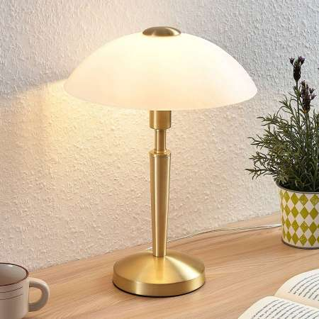 Lindby Stolná lampa Tibby so skleneným tienidlom mosadz
