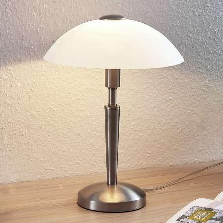 Lindby Stolná lampa Tibby so skleneným tienidlom v nikle